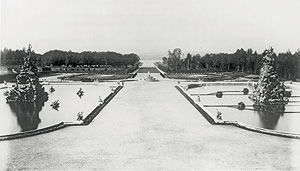 The central garden axis, looking west. Historical photo, 1886